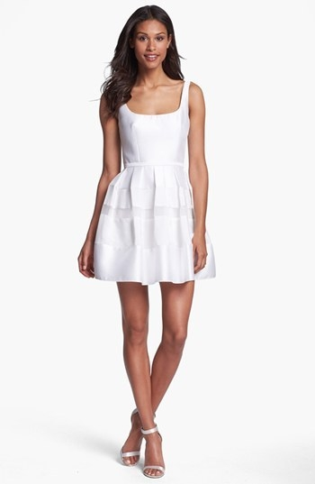 ABS by Allen Schwartz Tonal Stripe Fit & Flare Dress