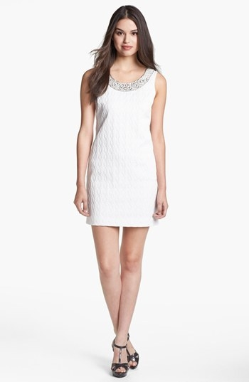 Adrianna Papell Embellished Jacquard Shift Dress (Petite)