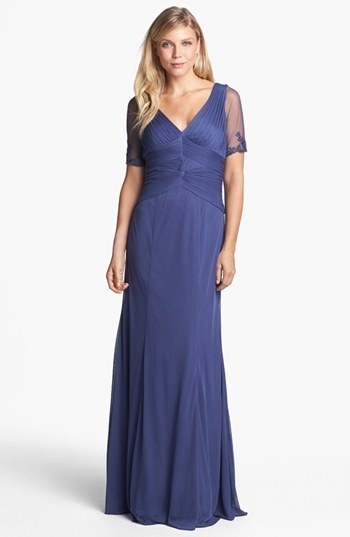 Adrianna Papell Embellished Ruched Bodice Mesh Gown