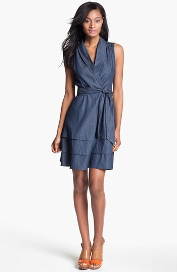 Adrianna Papell Faux Wrap Chambray Dress