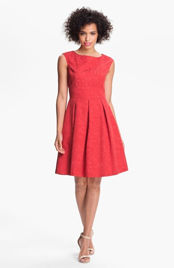 Adrianna Papell Floral Jacquard Fit & Flare Dress