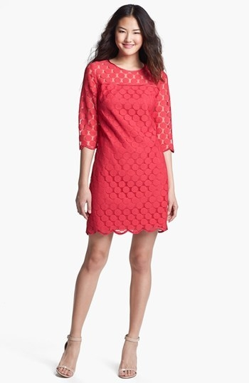 Adrianna Papell Illusion Yoke Lace Sheath Dress