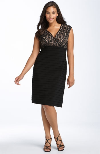 Adrianna Papell Lace Bodice Banded Dress (Plus)
