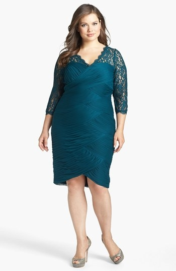 Adrianna Papell Lace Yoke Ruched Dress (Plus Size)