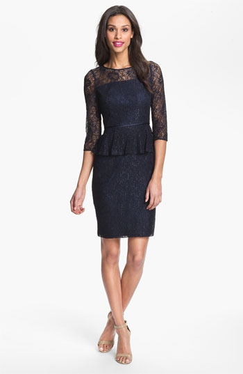 Adrianna Papell Peplum Lace Sheath Dress
