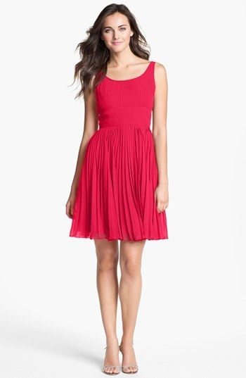 Adrianna Papell Pleated Chiffon Fit & Flare Dress