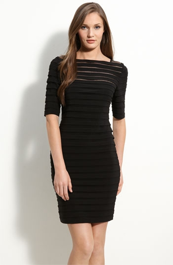 Adrianna Papell Pleated Illusion Sheath Dress