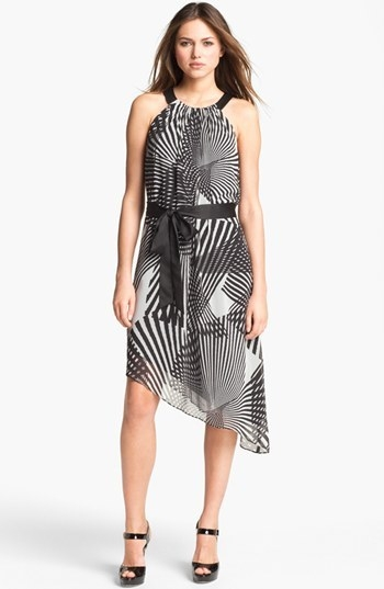 Adrianna Papell Print Asymmetrical Chiffon Dress