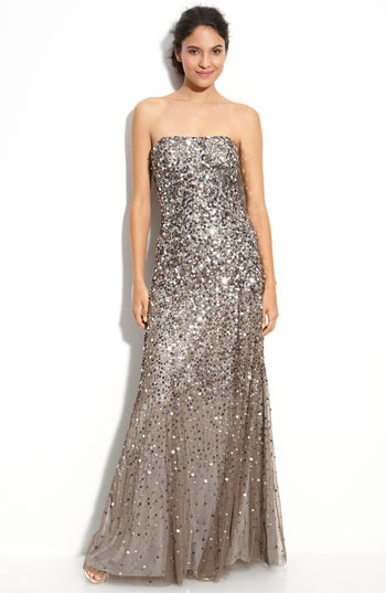 Adrianna Papell Sequined Strapless Mesh Gown