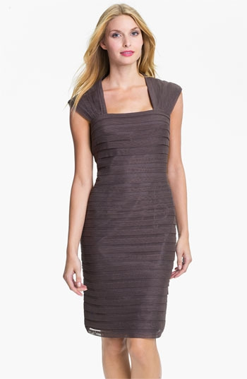 Adrianna Papell Shutter Pleat Mesh & Taffeta Sheath Dress (Petite)