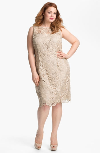 Adrianna Papell Sleeveless Lace Dress (Plus)