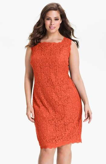 Adrianna Papell Sleeveless Lace Sheath Dress (Plus)