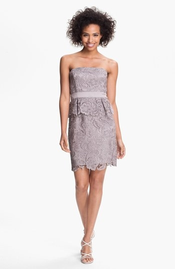 Adrianna Papell Strapless Lace Peplum Dress