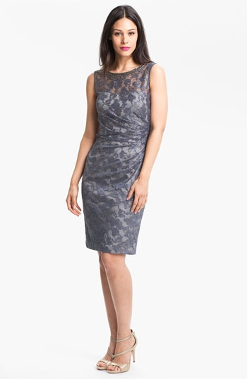 Aidan Mattox Embellished Lace Sheath Dress