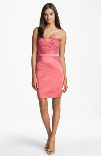 Aidan Mattox Embellished Lace Strapless Sheath Dress
