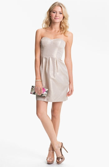 Aidan Mattox Metallic Strapless Tulip Dress