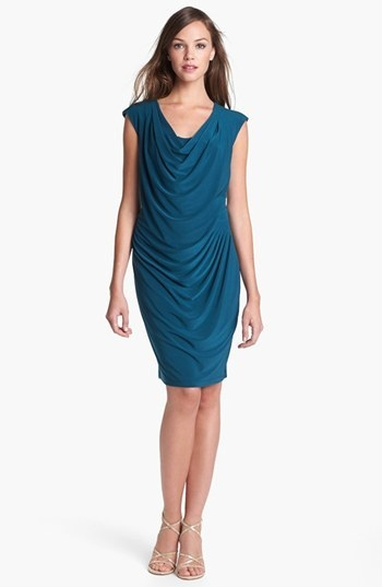 Alex & Ava Draped Jersey Sheath Dress