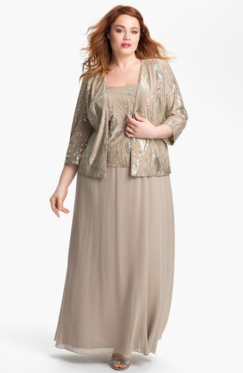Alex Evenings Embellished Chiffon Gown & Jacket (Plus)