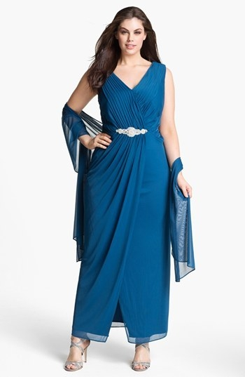 Alex Evenings Embellished Mesh Gown & Shawl (Plus Size)
