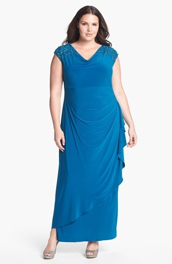 Alex Evenings Embellished Side Draped Jersey Dress (Plus Size)