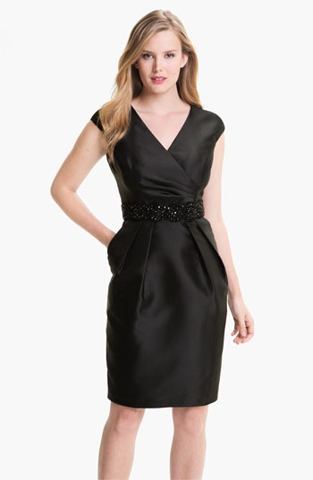Alex Evenings Embellished Waist Taffeta Sheath Dress