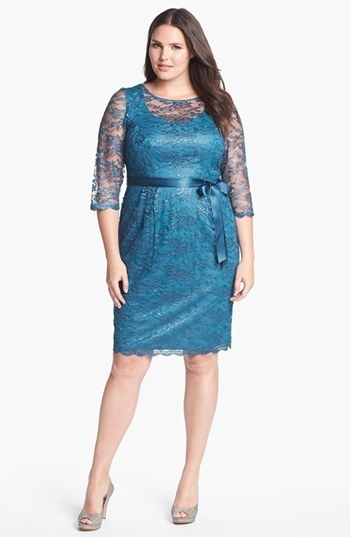 Alex Evenings Illusion Sleeve Lace Dress (Plus)