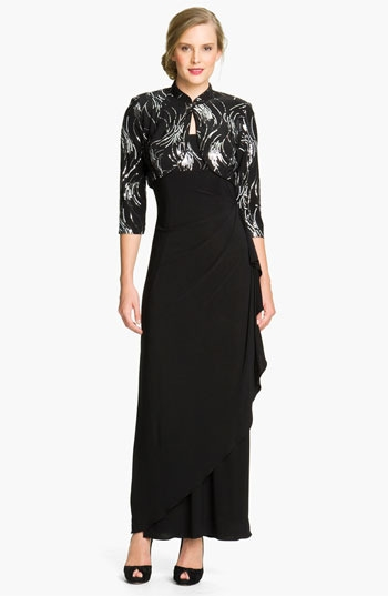 Alex Evenings Jersey Gown & Sequin Jacket (Petite)
