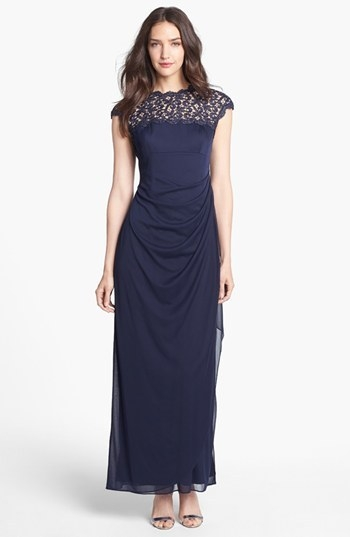 Alex Evenings Lace Yoke Faux Wrap Mesh Gown