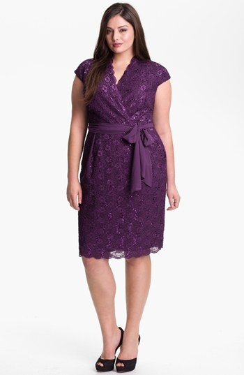 Alex Evenings Surplice Lace Dress (Plus Size)