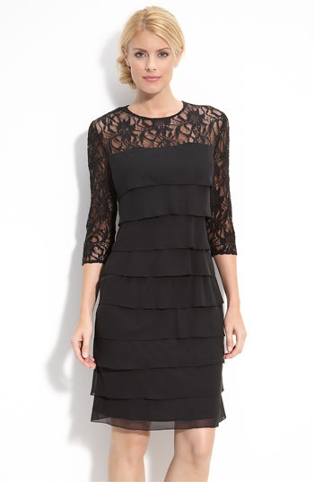Alex Evenings Tiered Chiffon & Lace Sheath Dress (Petite)