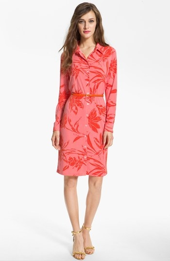Anne Klein Floral Print Shirtdress