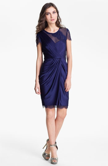 BCBGMAXAZRIA Lace Sleeve Gathered Jersey Dress