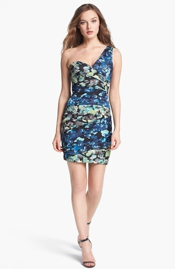 BCBGMAXAZRIA One Shoulder Print Sheath Dress
