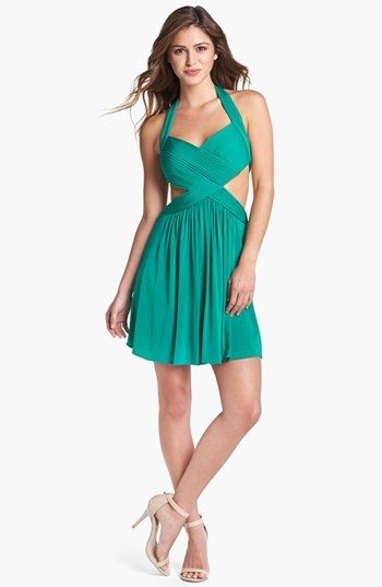 BCBGMAXAZRIA 'Shea' Cutout Halter Fit & Flare Dress