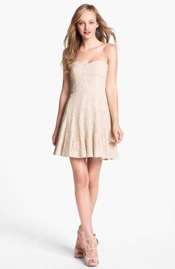 BCBGMAXAZRIA Strapless Lace Fit & Flare Dress