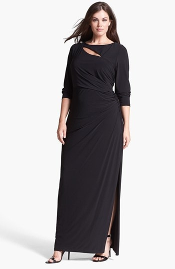 Betsy & Adam Embellished Cutout Long Jersey Dress (Plus Size)