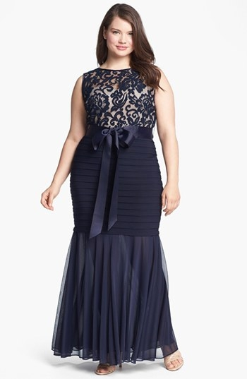 Betsy & Adam Lace Banded Mermaid Gown (Plus Size)
