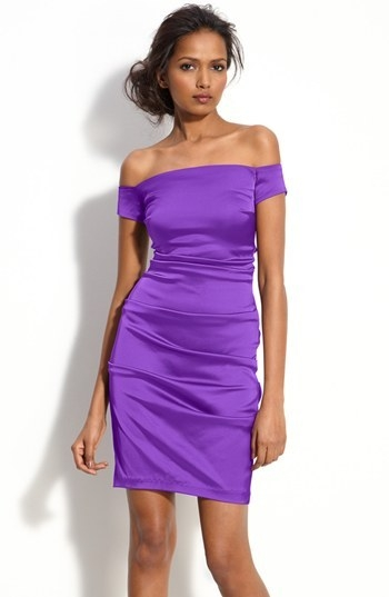 Betsy & Adam Off Shoulder Stretch Satin Sheath Dress
