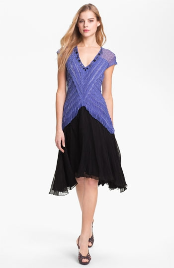 Black by Komarov Embellished Textured A-Line Dress