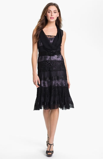Black by Komarov Lace Panel A-Line Dress