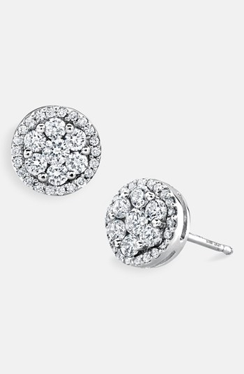 Bony Levy 'Flower' Button Diamond Earrings (Nordstrom Exclusive)