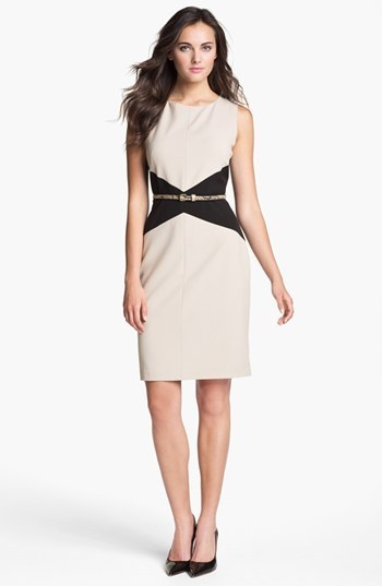 Calvin Klein Belted Colorblock Sheath Dress