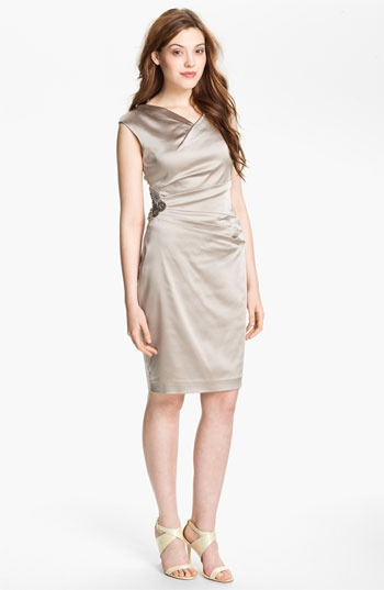 Calvin Klein Embellished Satin Sheath Dress