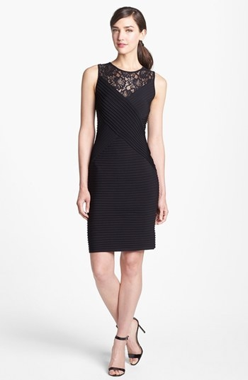 Calvin Klein Lace Yoke Jersey Sheath Dress