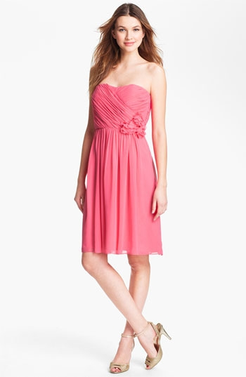 Calvin Klein Rosette Detail Strapless Chiffon Dress
