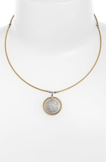 Charriol 'Classique' Dome Sapphire & Diamond Pendant Necklace