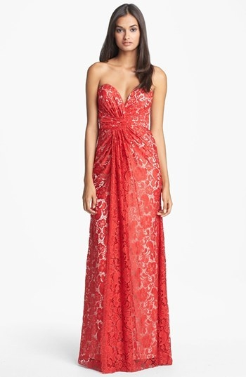 Dalia MacPhee Strapless Ruched Lace Gown