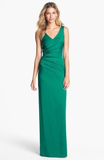 David Meister Side Pleat Satin Gown