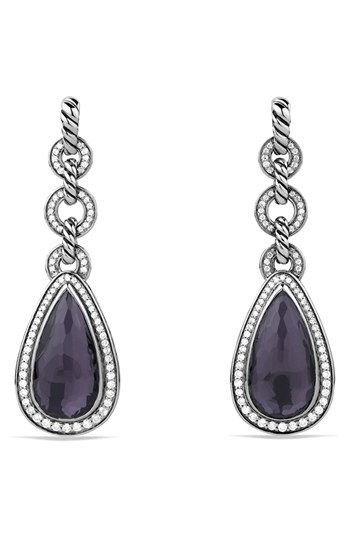 David Yurman 'Anjou' Drop Earrings with Black Orchid and Diamonds