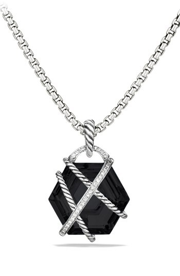 David Yurman 'Cable Wrap' Pendant with Black Onyx and Diamonds